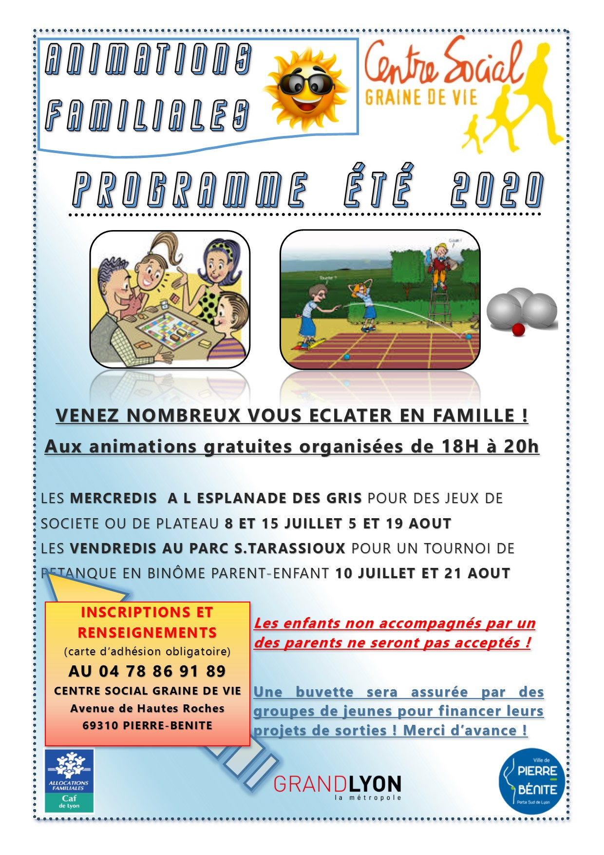 ANIMATION  ETE 2020 Animation Parent-enfants Animation de proximité